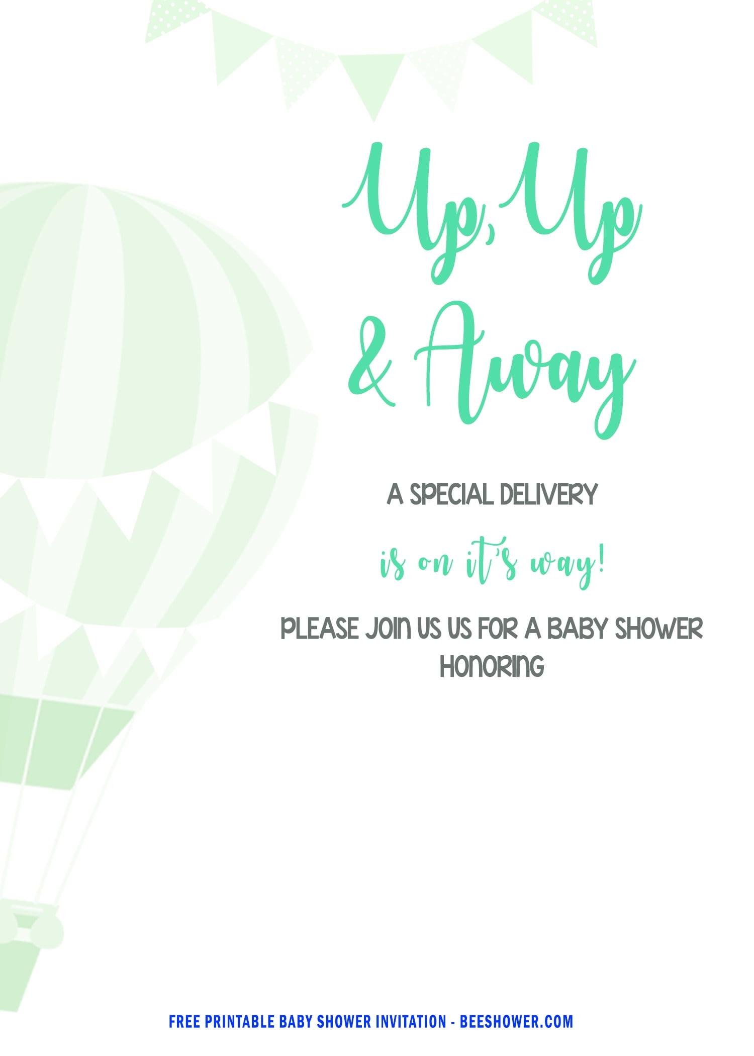 Free Hot Air Balloon Up Up And Away Invitation Templates