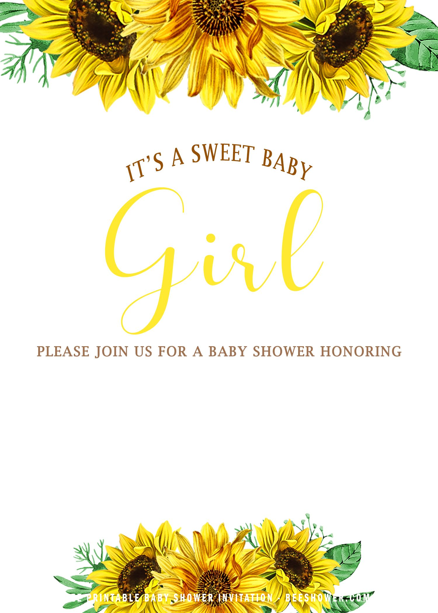 Free Sunflower Baby Girl Invitation Templates Free