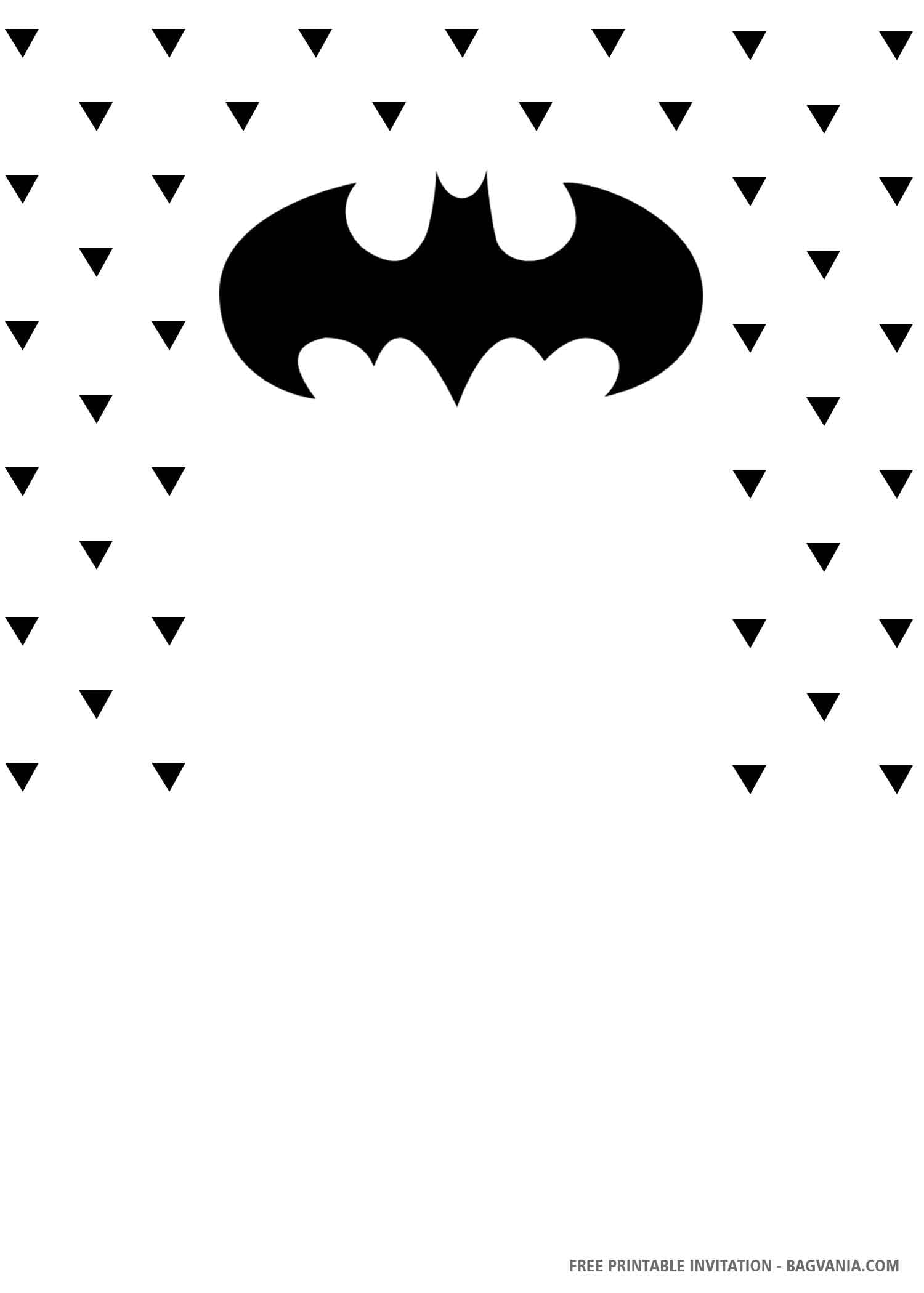 Free Printable Simple Batman Birthday Invitation