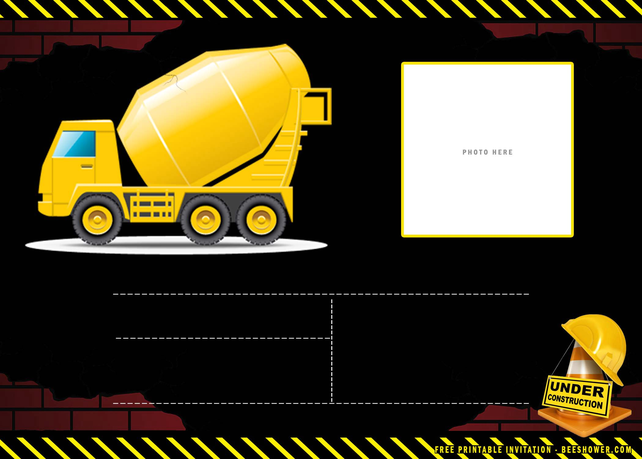 constructions boy birthday invitation
