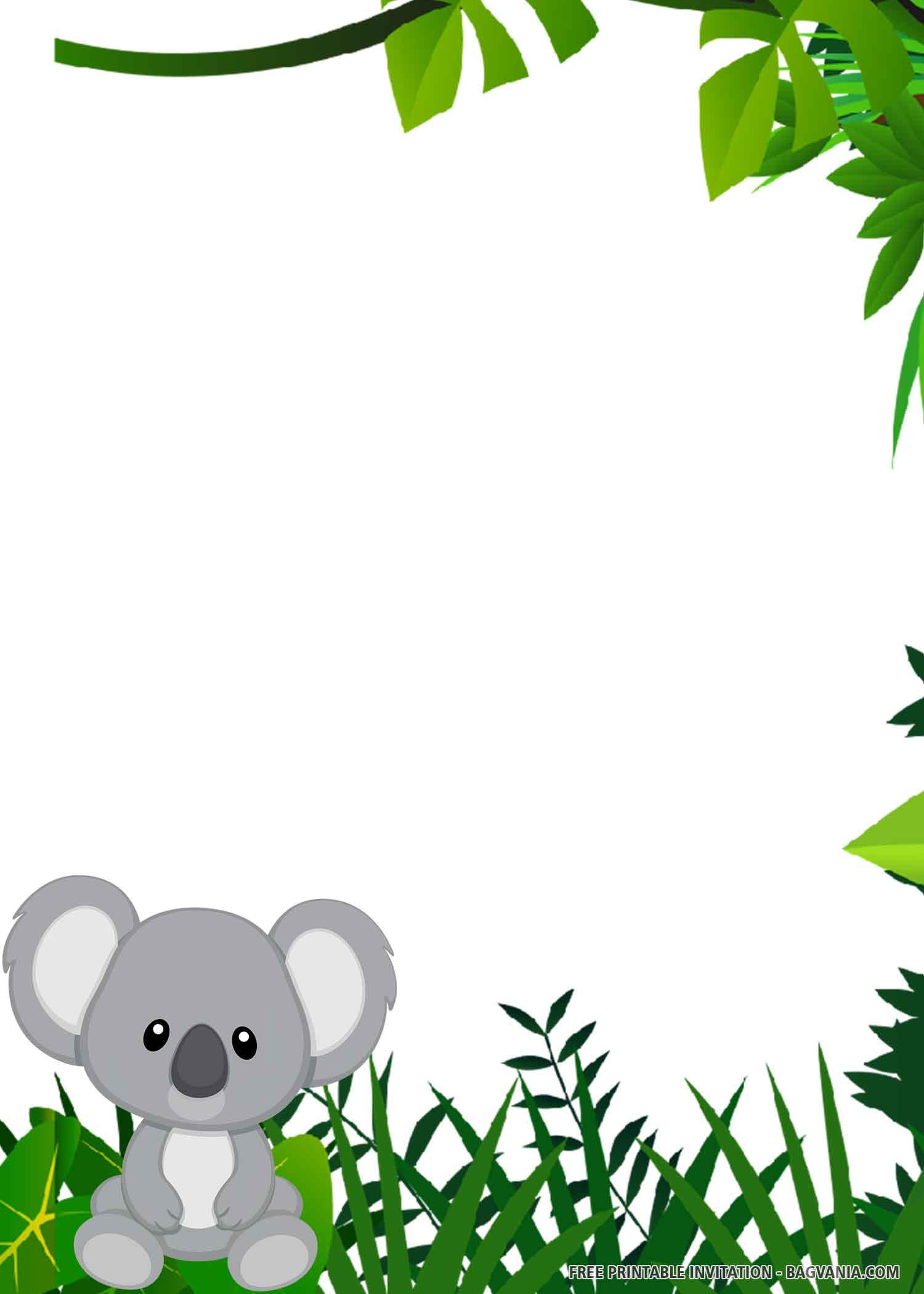 Free Printable Cute Koala Birthday Invitation