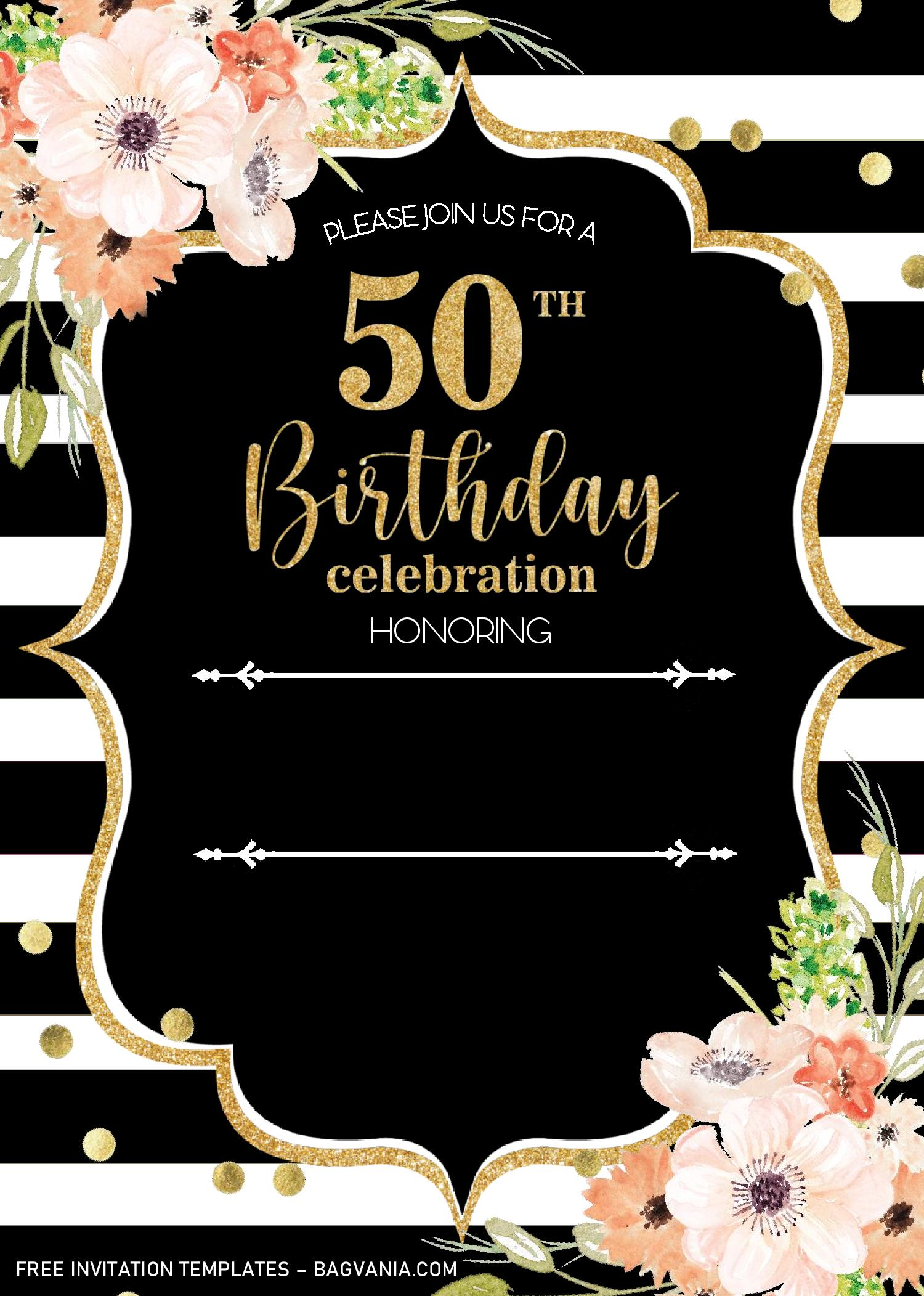 black and gold 50th birthday invitation
