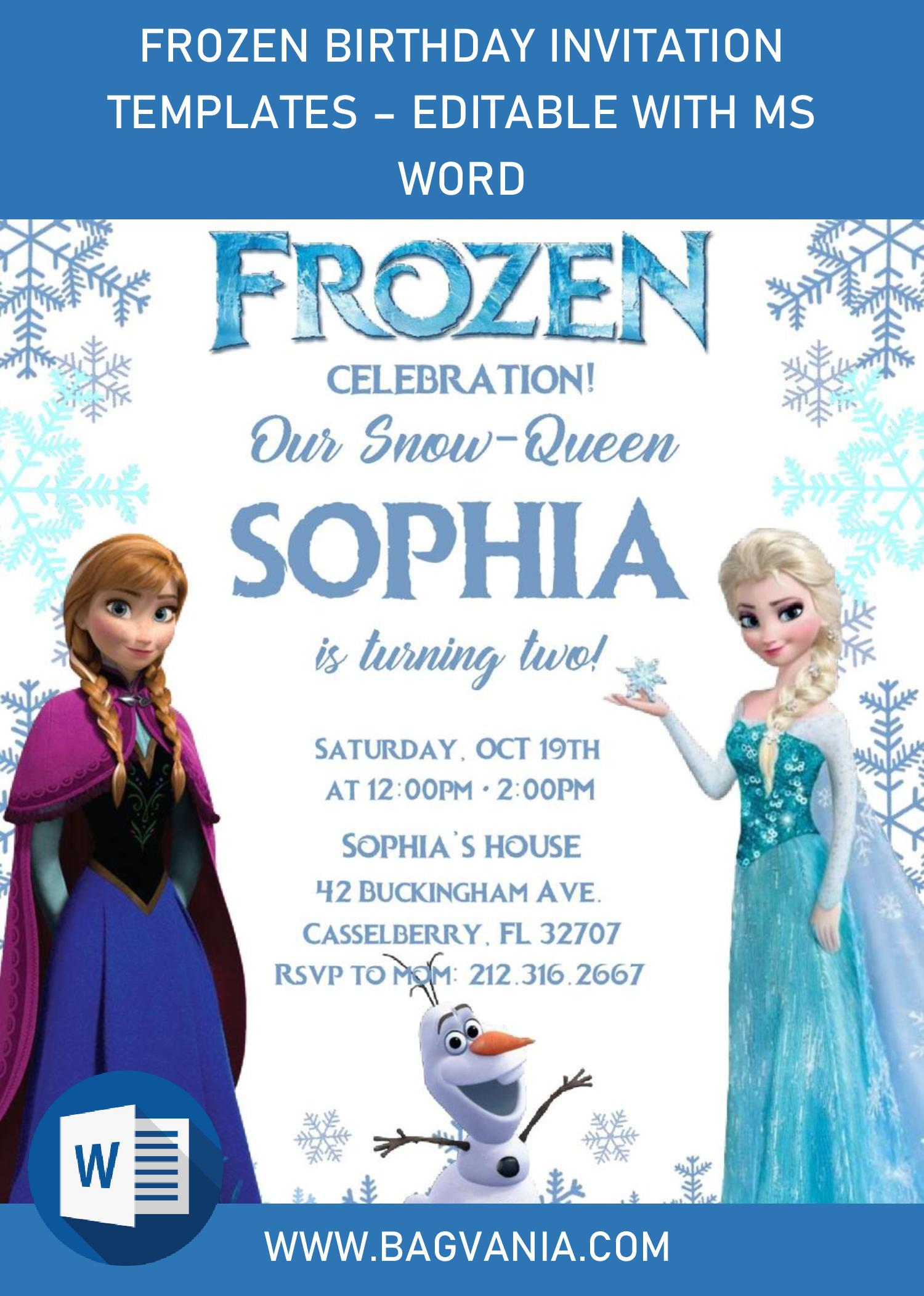 frozen invitation templates editable