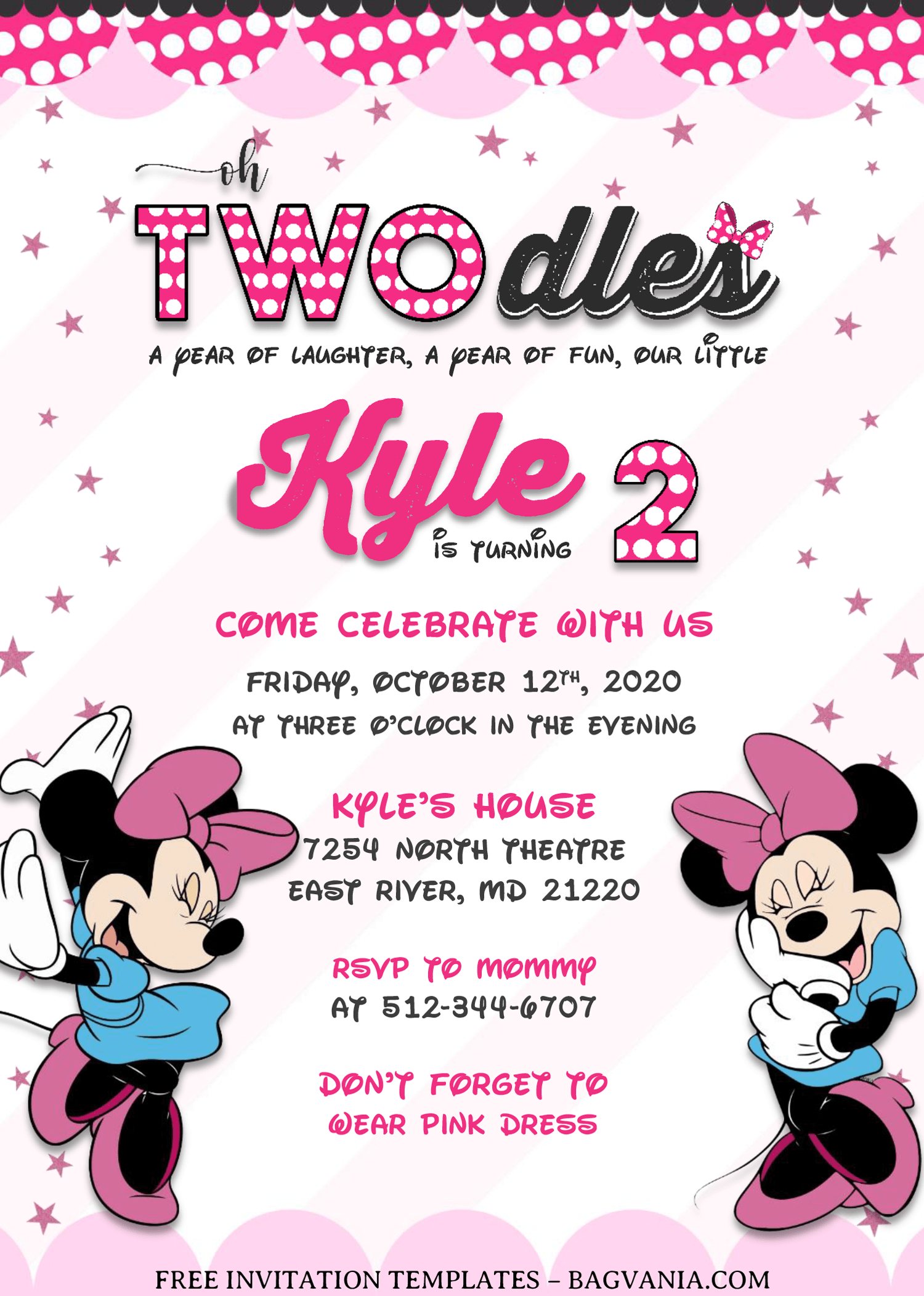 minnie mouse invitation templates