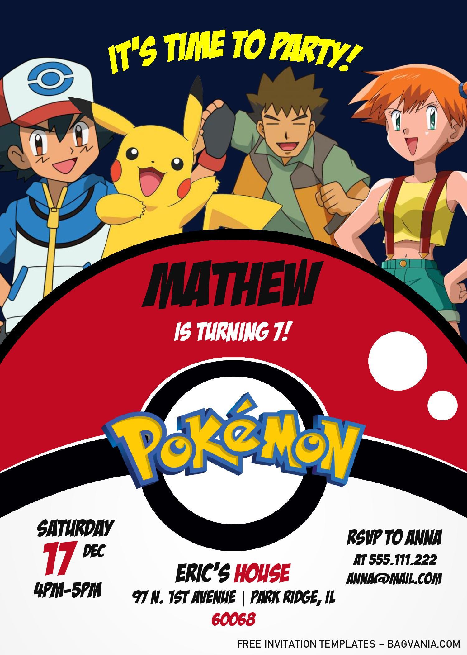 pokemon invitation templates editable