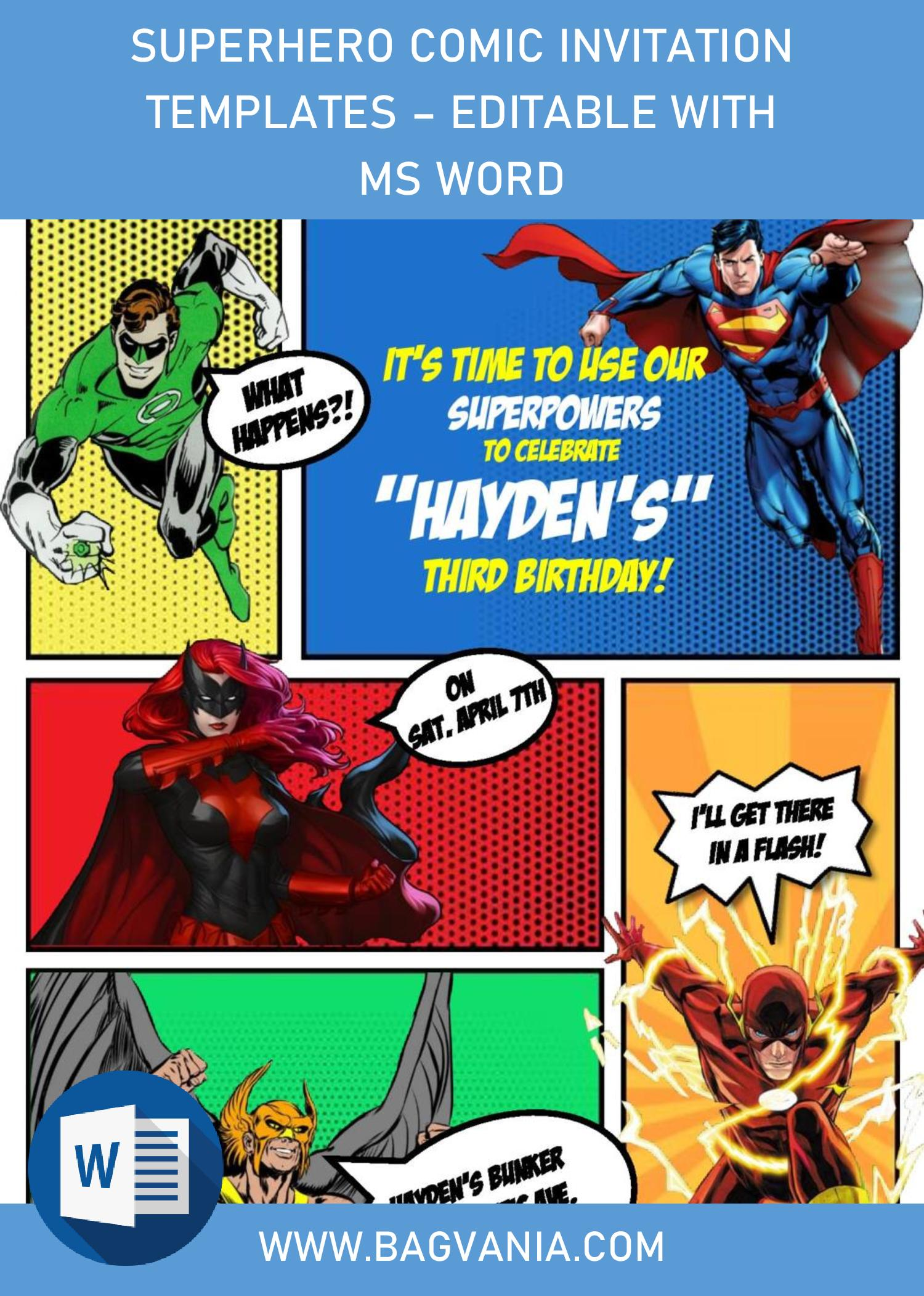 superhero comic invitation templates