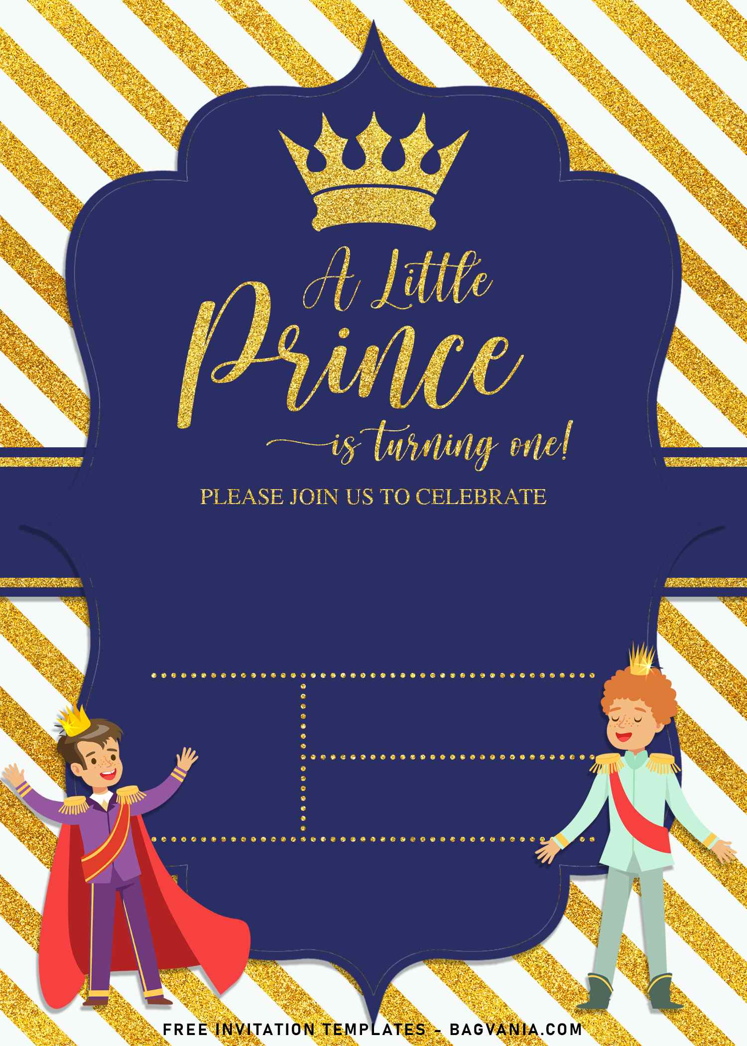 sparkling gold glitter prince birthday