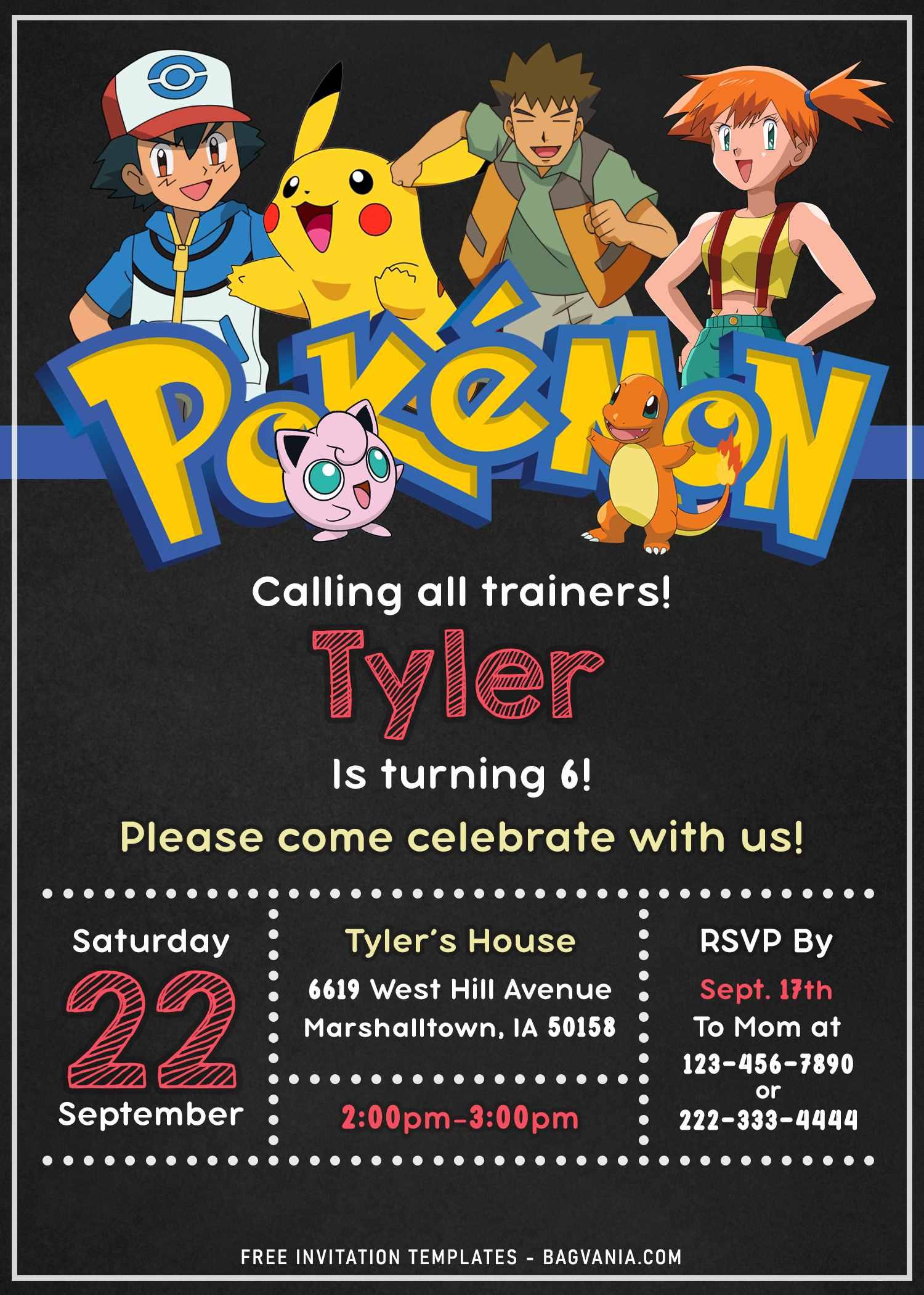 awesome pokemon chalkboard invitation