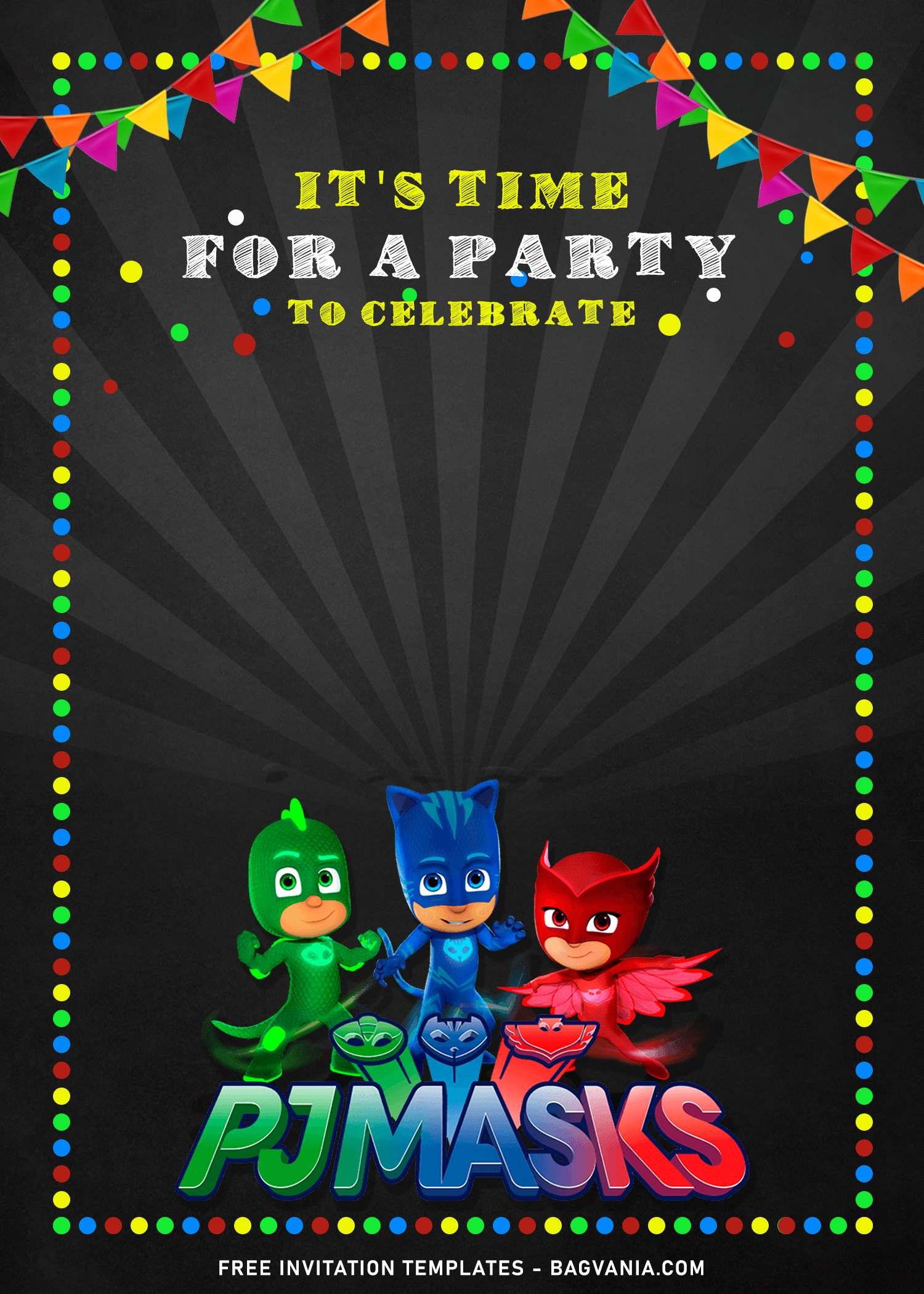 10 Gecko Owlette Catboy Pj Masks Birthday Invitation Templates Free Printable Birthday Invitation Templates Bagvania