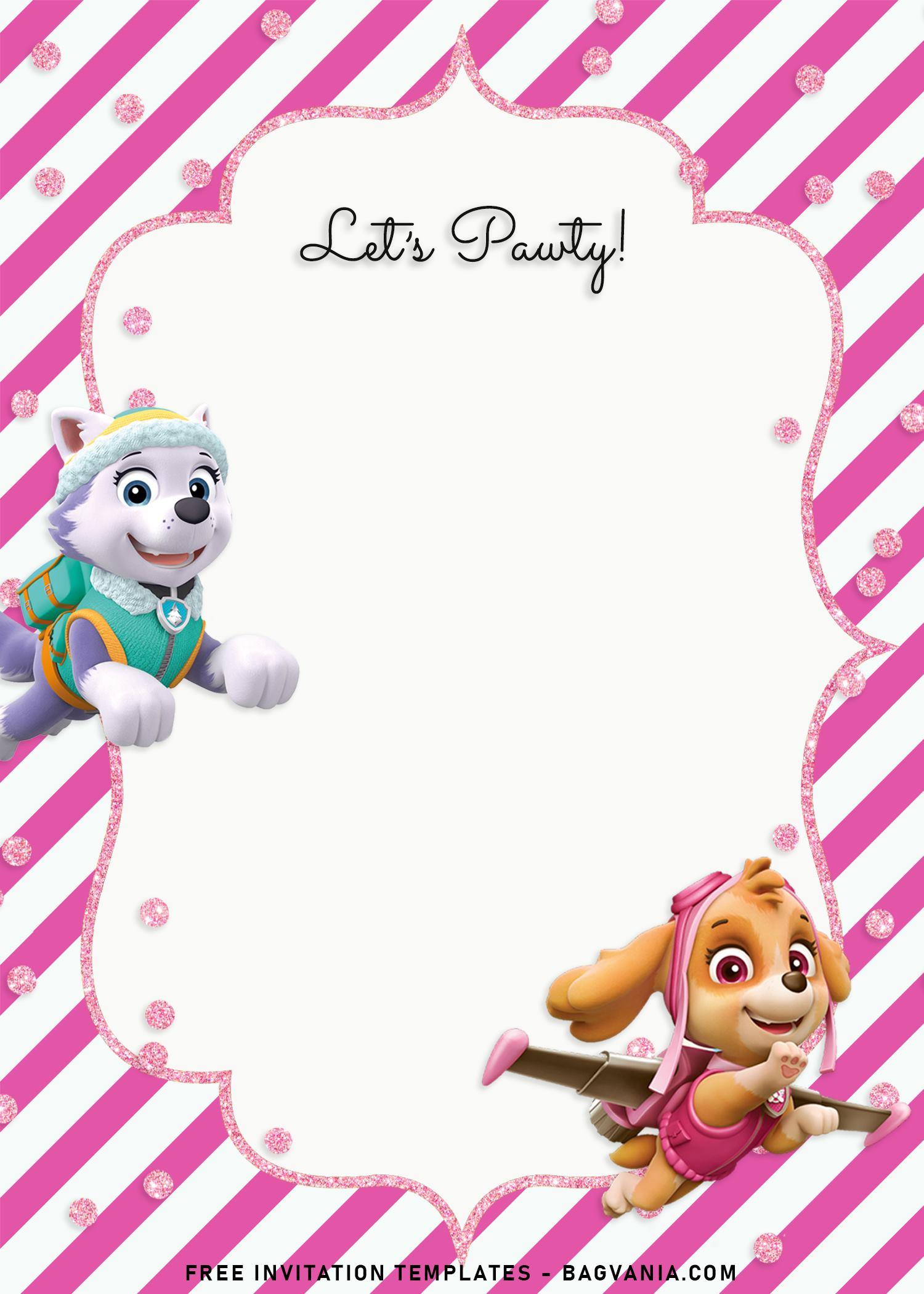 8 Adorable Skye And Everest Paw Patrol Birthday Invitation Templates Free Printable Birthday Invitation Templates Bagvania