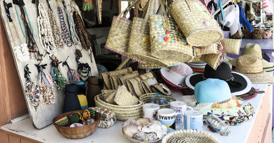 Harbour Island Bahamas straw crafts market on Harbour Island Eleuthera. Visit Eleuthera Island with flights from Florida to Bahamas with Bahamas Air Tours