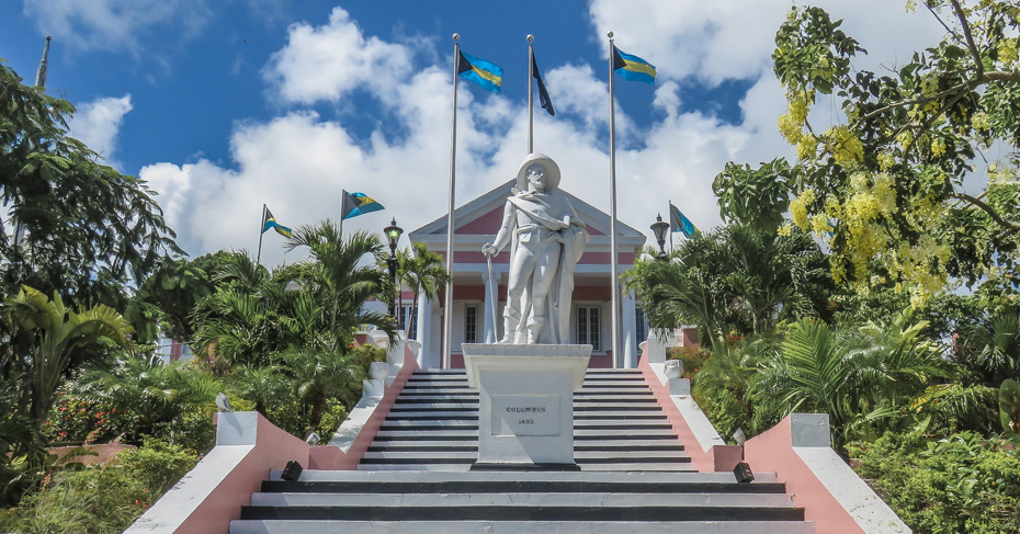 Steps lead up to Government House Nassau, top things to do in Nassau Bahamas