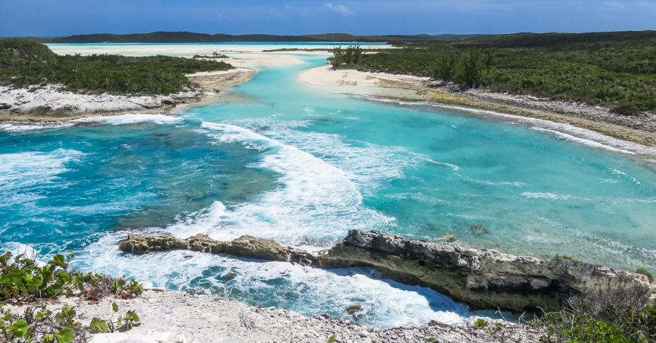 Long Island Bahamas highlights; The cliffs guard the entrance to the Columbus Cove, one of the Landing sites of Christopher Columbus on Long Island Bahamas out islands. Take a 3 day cruises from Miami to Bahamas with Bahamas Air Tours.