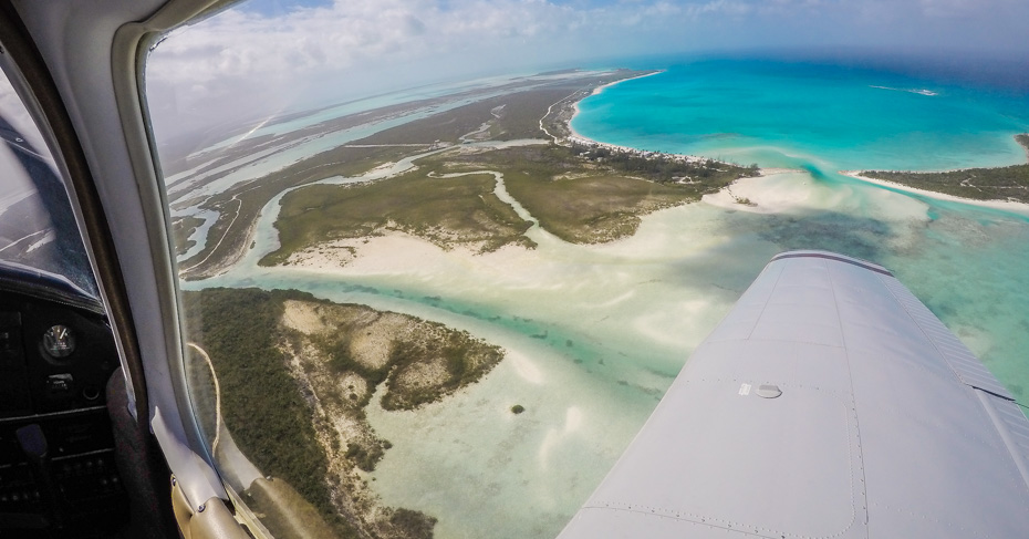 Flying over Cape Santa Maria on the Long Island Bahamas. Discover Long Island on a Bahamas Island hopping tour with Bahamas Air Tours.