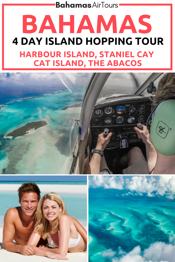 Explore the Bahamas Islands on this unique 4 day tour from Florida to Bahamas by plane. The perfect Bahamas Vacation adventure is Island hopping and makes the perfect compliment to any Bahamas Honeymoon or Bahamas Weddings. Visit the best Bahamas Beaches on this unique Bahamas Tour including the famous Pink Sands Beach, Pig Beach (Staniel Cay) and Treasure Cay. #bahamas #honeymoon