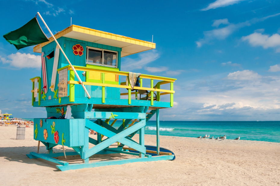 Lifeguard Tower in South Beach, Miami. Best Things to do in Florida include Airboat Rides Florida attractions as well as island getaways. Bahamas Air Tours brings you What to Do in Florida as well as a few Miami Florida Attractions like a Bahamas Day Trip for your next Florida Vacation.