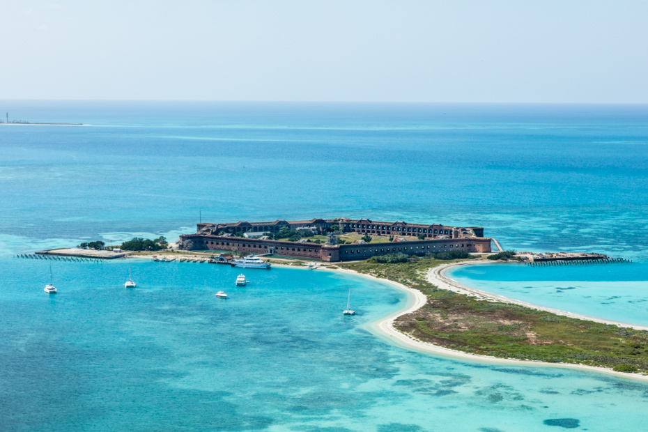 An aerial view of Fort Jefferson located on Garden Key, Dry Tortugas, Florida. Best Things to do in Florida include Airboat Rides Florida attractions as well as island getaways. Bahamas Air Tours brings you What to Do in Florida