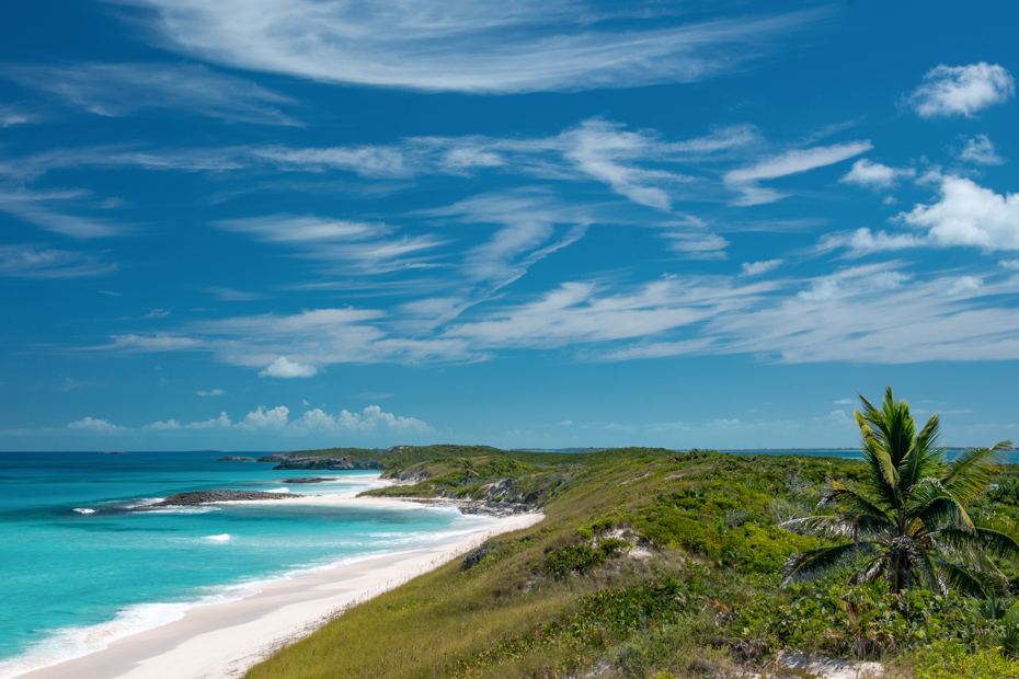 Things to do in Exuma Cays. A View of the Atlantic Ocean from top of the dunes on Stocking Island, Bahamas.