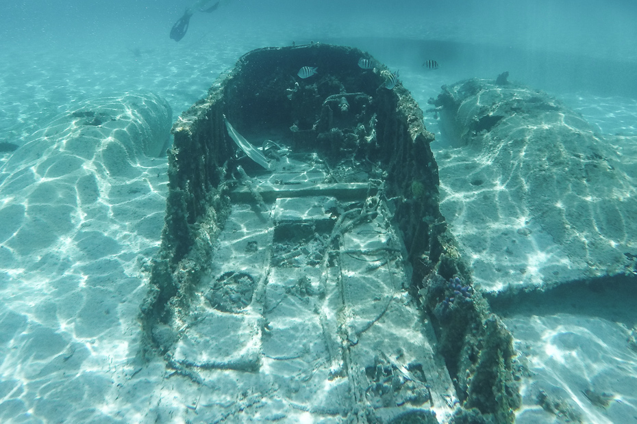 Swim inside the Staniel Cay Underwater plane wreck on a Bahamas Day Trip from Miami and Nassau.