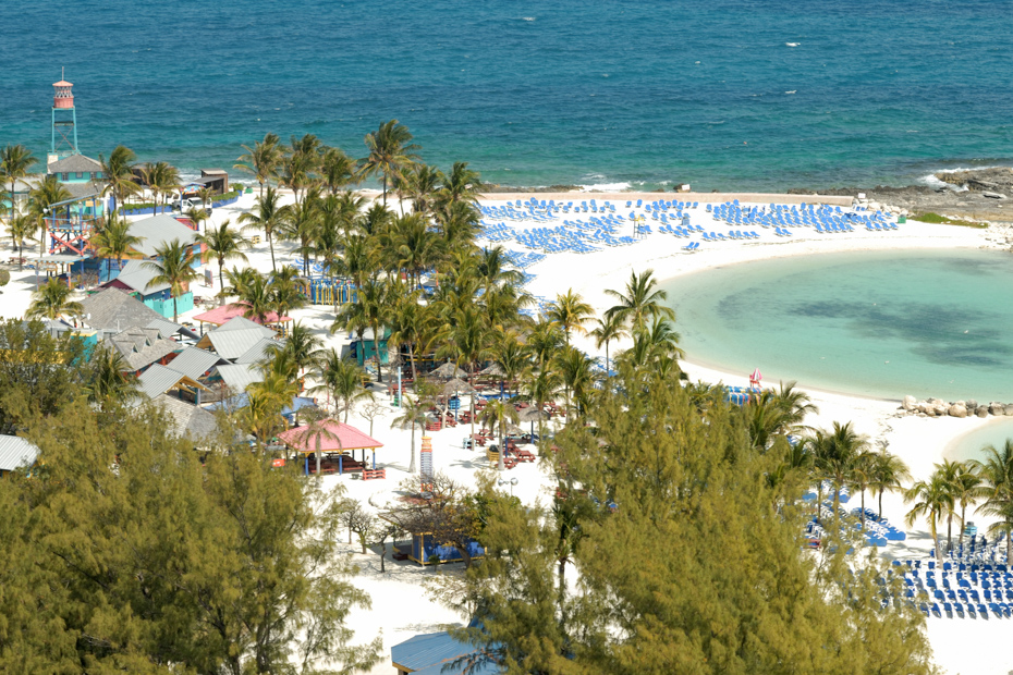 Bird's eye view of the pristine Bahamas islands. Cococay excursions include trips to Berry Islands Bahamas.