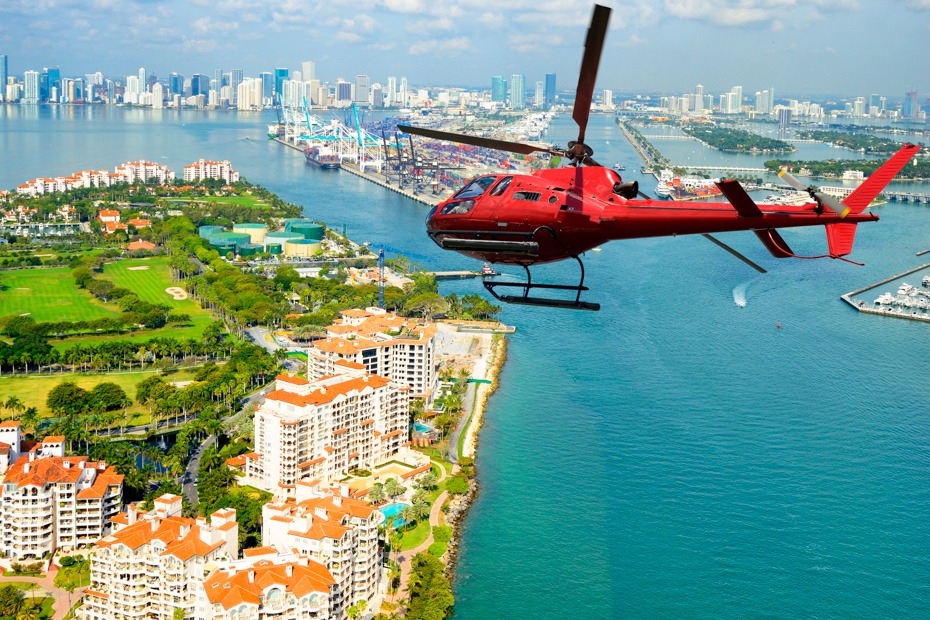 Take a cityscape over Miami via helicopter on a Miami Excursion to see all Florida attractions on your florida vacation.