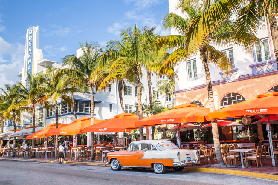 Ocean Drive in South Beach of historic Art Deco district. Take a stroll through as one of the fun things to do near miami florida.