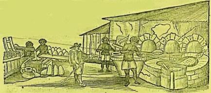 Nessa ilustração podemos ver dois escravos mexendo nos tachos das caldeiras, e no lado esquerdo pode-se ver o melaço sendo colocado nos pães de açúcar para iniciar a purgação.