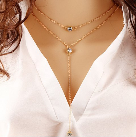 Alloy Rhinestone Pendant Layered Necklace