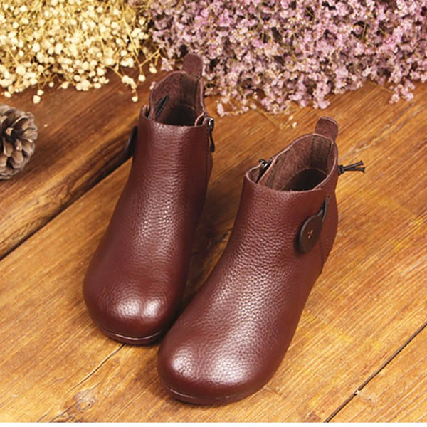 Leather Short Boots Women Casual Outdoor Soft Slip On Flat Shoes 3