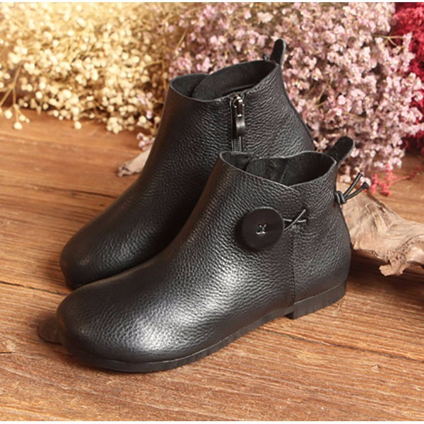 Leather Short Boots Women Casual Outdoor Soft Slip On Flat Shoes 8