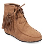Women Classic Soft Tassels Lace-up Flat Ankle Boots 3