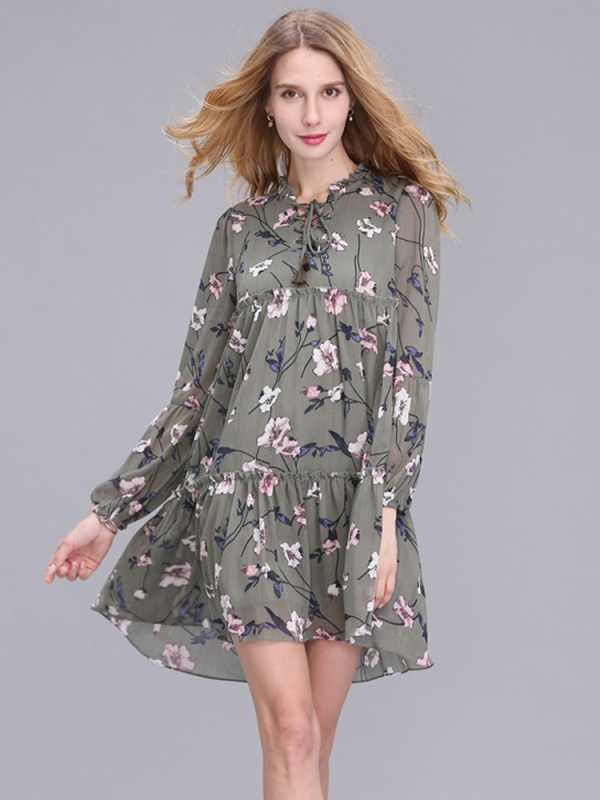 Casual Women Printing Chiffon Long Sleeve Slim Dress (2)