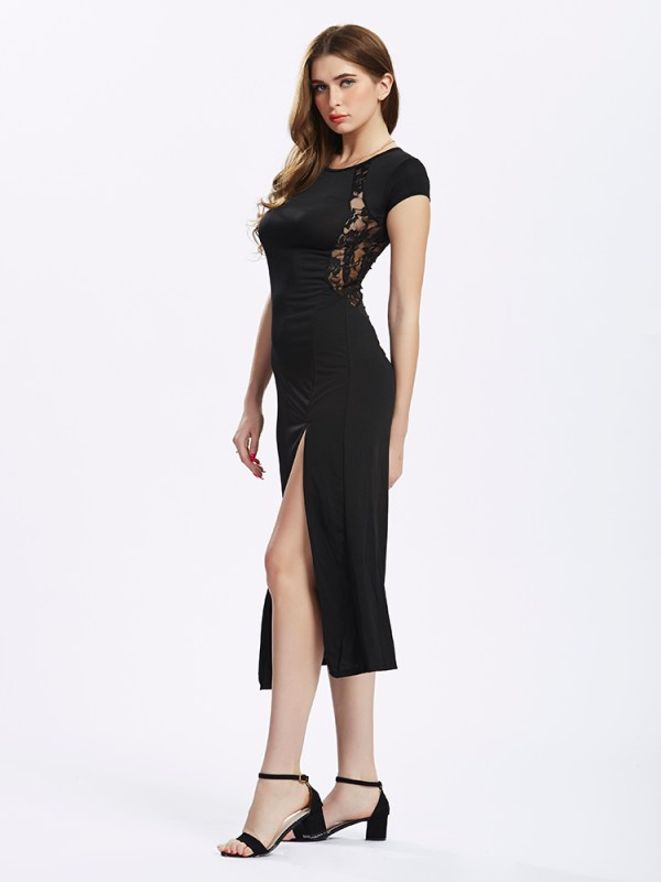 Women Split Long Black Lace Prom Maxi Slit Evening dress (3)