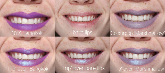 lime crime trip diamond crusher lip topper over different colored lipsticks