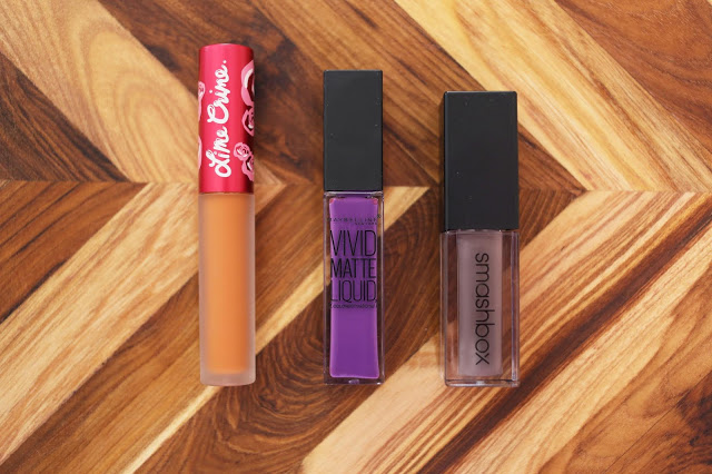 Lime Crime Squash, Maybelline Vivid Violet and Smashbox Chill Zone