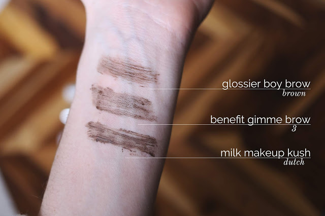 on-arm swatches of benefit gimme brow glossier boy brow and milk makeup kush