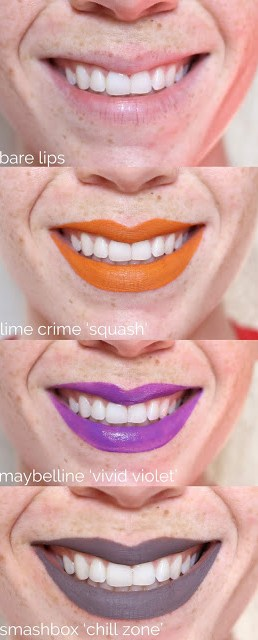On-lip swatches of Lime Crime Squash, Maybelline Vivid Violet and Smashbox Chill Zone