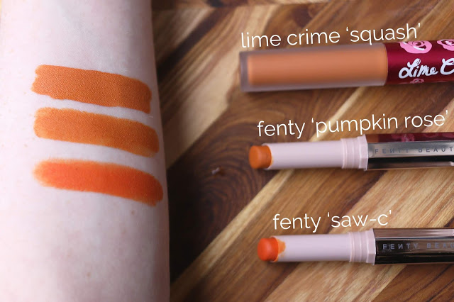 side by side swatch comparison of fenty beauty mattemoiselle in pumpkin rose versus saw-c and lime crime squash