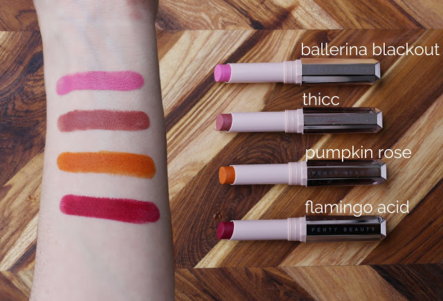 NEW FENTY BEAUTY MATTEMOISELLE LIPSTICKS IN 'BALLERINA BLACKOUT', 'THICC', 'PUMPKIN ROSE' AND 'FLAMINGO ACID'