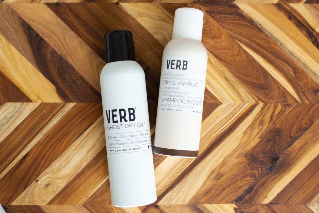 reviving days-old hair with Verb ghost dry oil and dry shampoo in 'dark'