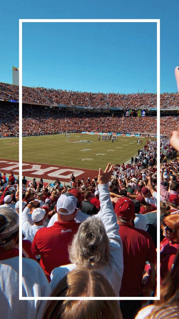 Oklahoma v. Texas football game at the Cotton Bowl stadium
