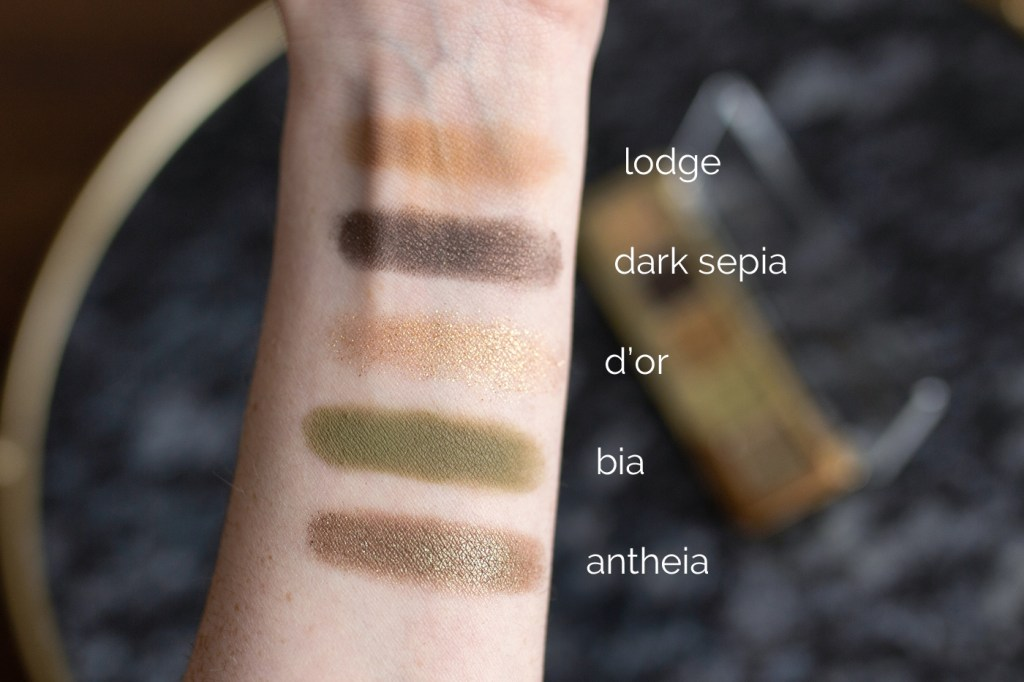 The Natasha Denona Mini Gold Palette swatched on-arm