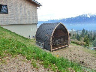 Jardin Extérieur Sauna En Bois Igloo Design, Catherine, Blonay, Suisse (1)