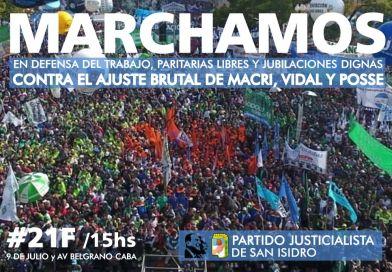 El PJ de San Isidro apoya la marcha del #21F