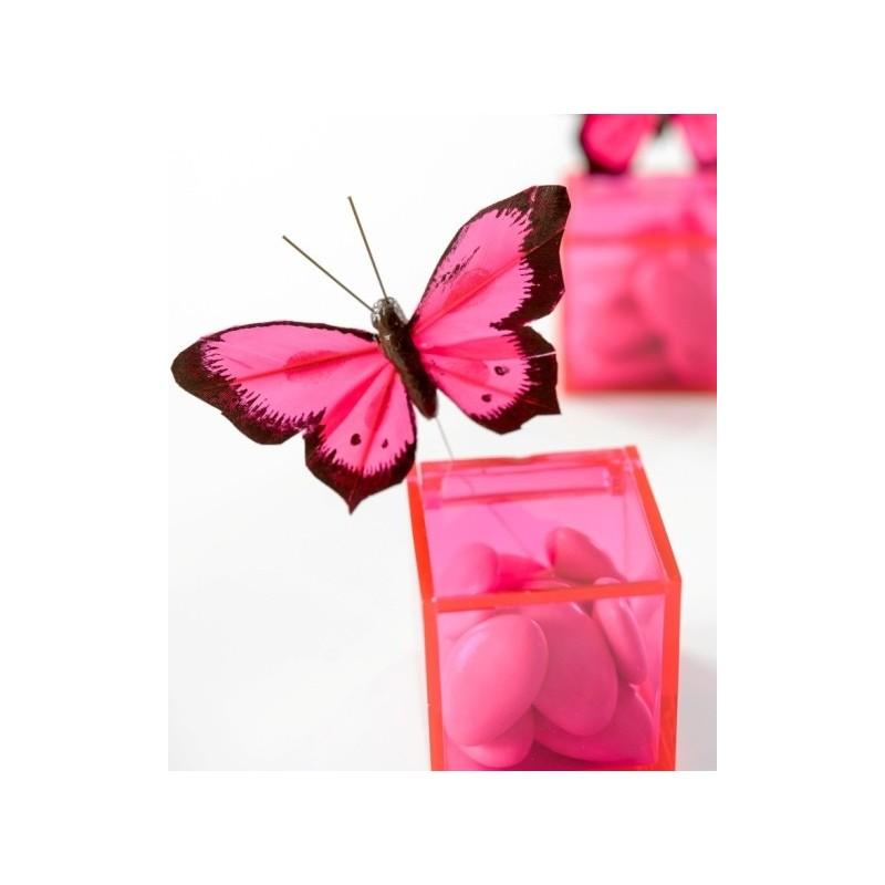 Papillon Bicolore Fushia En Plumes Sur Tige Les 6 Dco