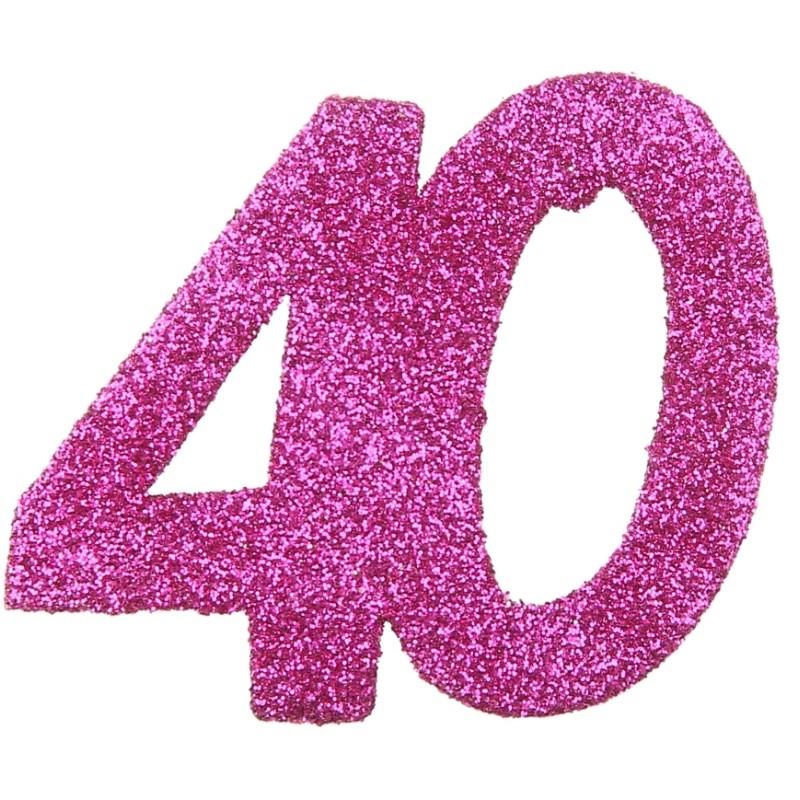 Confettis Anniversaire 40 Ans Fuchsia Paillet Les 6