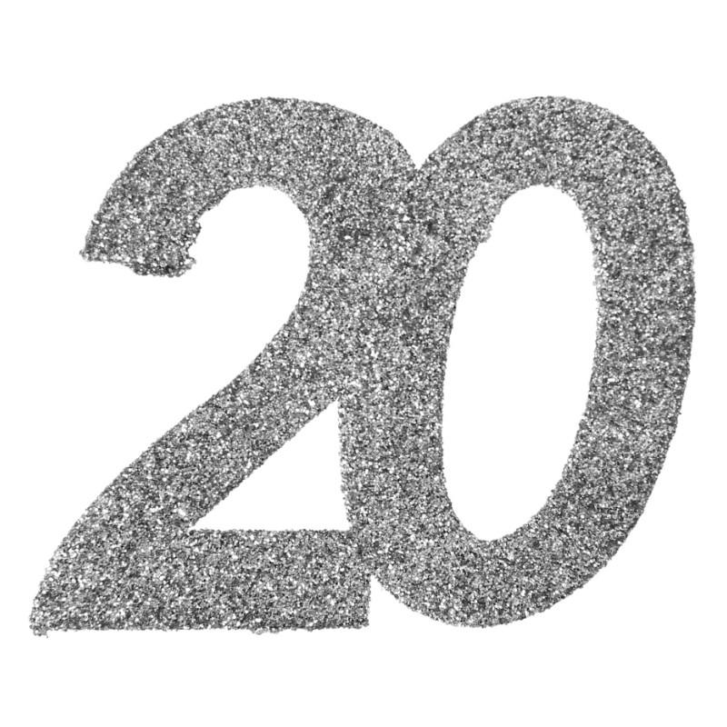 Confettis Anniversaire 20 Ans Argent Paillet Les 6