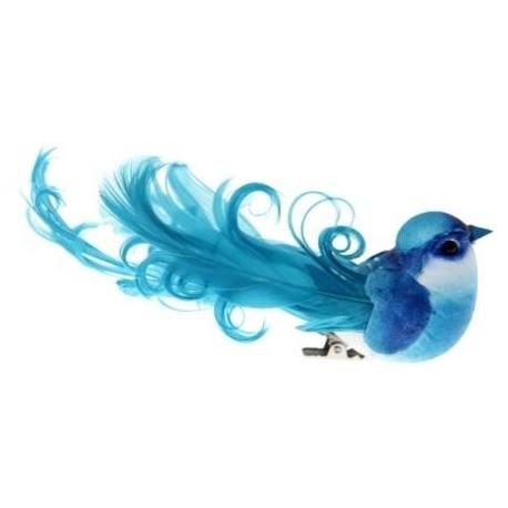 oiseau bleu turquoise en plumes sur pince les 2 grands oiseaux deco