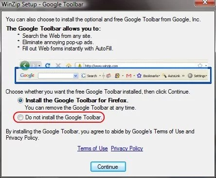 Desmarque para NÃO instalar o Google Toolbar