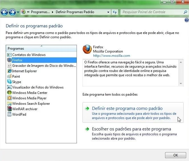 Escolha o programa e defina-o como o padrão para arquivos suportados